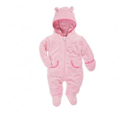 Dětský overal s rukavicemi a krytými chodidly Teddy Pink 8 měs.