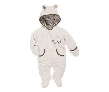 Dětský overal s rukavicemi a krytými chodidly Teddy Cream 8 měs.
