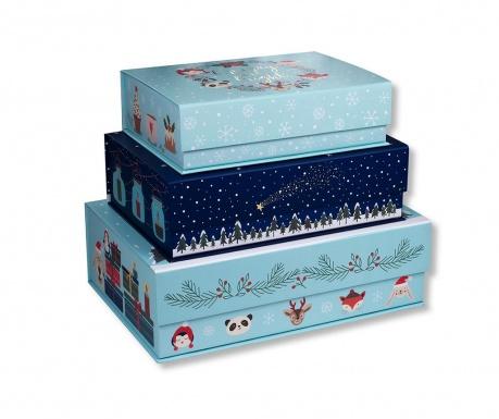 Set 3 kutije s poklopcem Snow