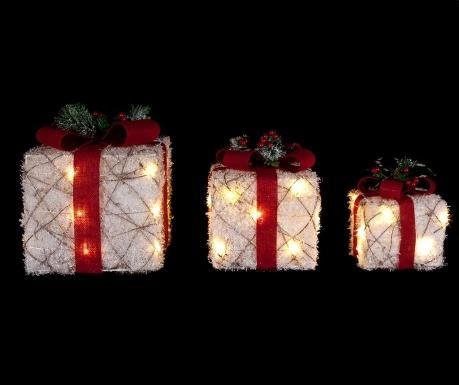 Set 3 svetlobnih dekoracij Christmas Tinsel Presents