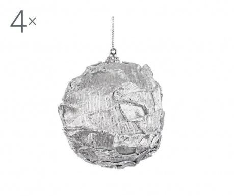 Sada 4 dekoračných gúľ Luxury Silver