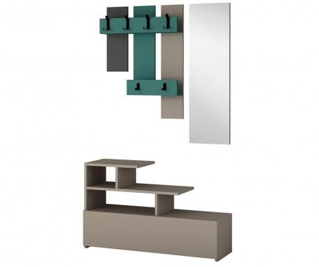 Set - omara za čevlje, obešalnik in ogledalo Vesty Light Mocha Turquoise