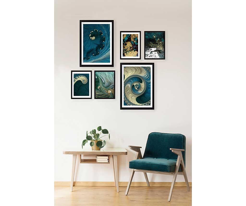 Set 6 slika Blue Spirals