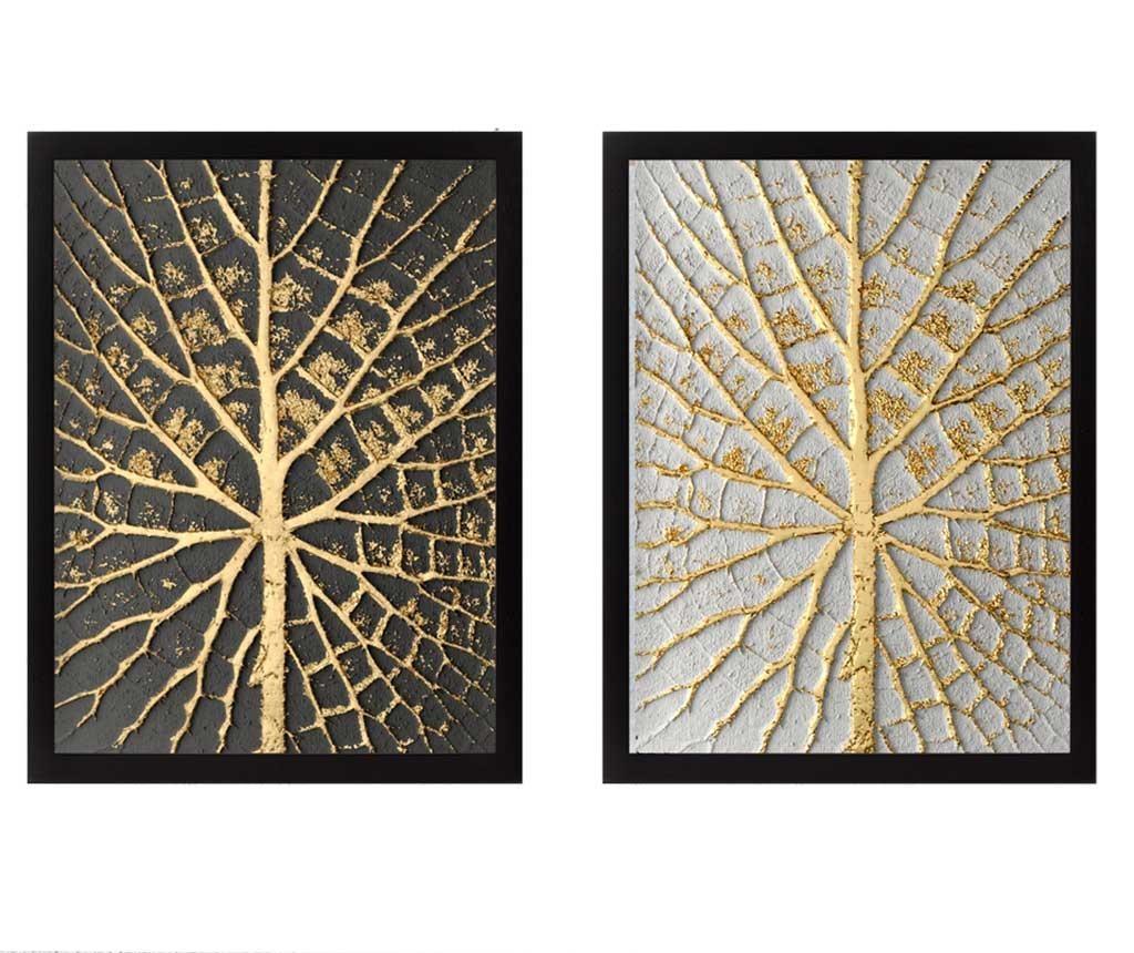 Sada 2 obrazů Tree Golden 34x44 cm