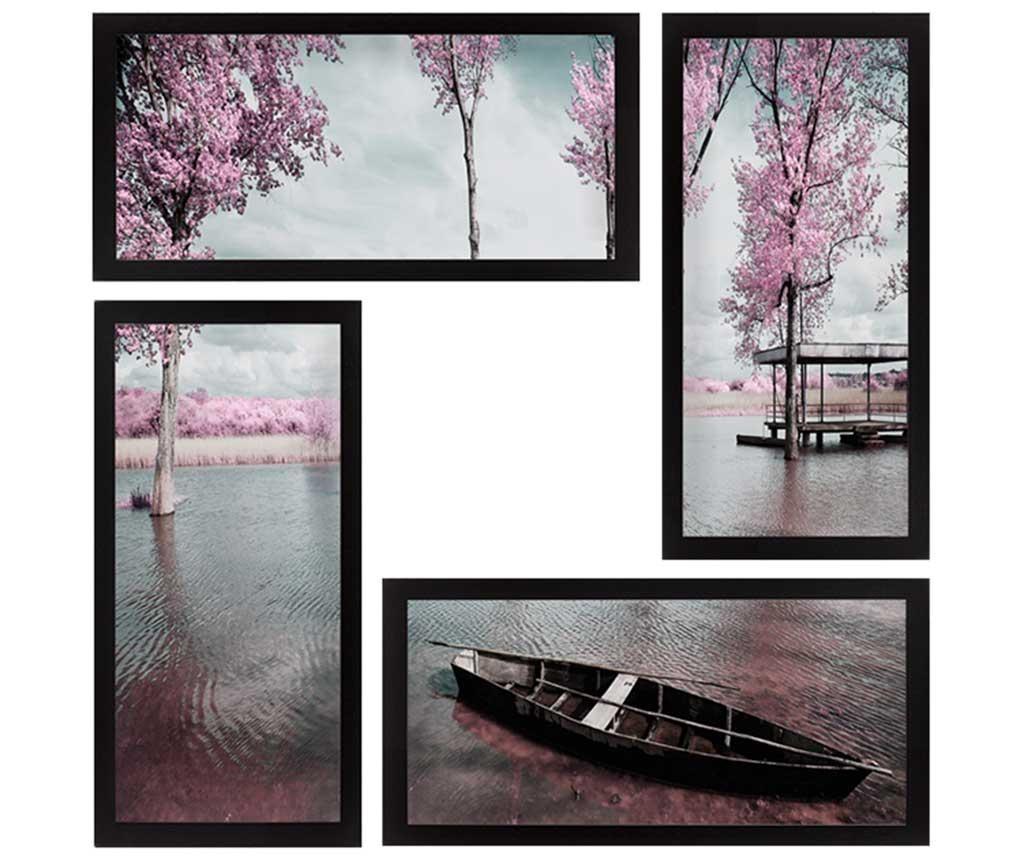Zestaw 4 obrazów Frozen Time 24x44 cm
