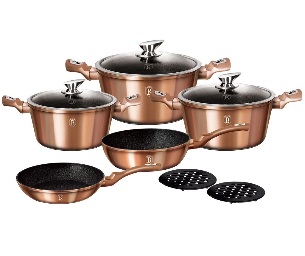 10-dijelni set posuda za kuhanje Metallic Line Rose Gold Edition
