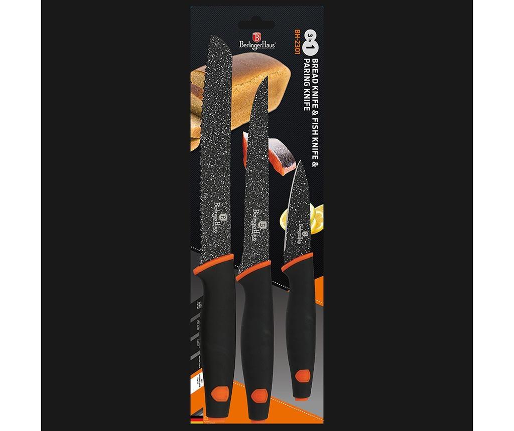 Set 3 noža Granit Diamond Black Orange