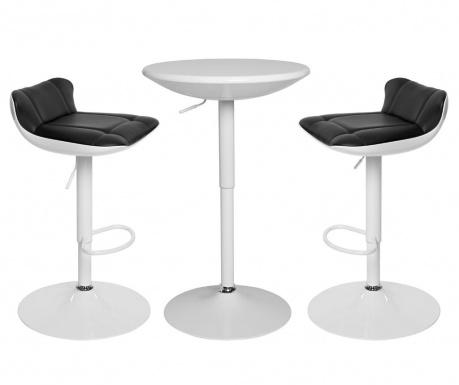 Sada stôl a 2 barové stoličky Pretty White and Black