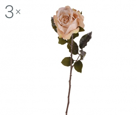 Zestaw 3 sztucznych kwiatów Iced Cream Rose