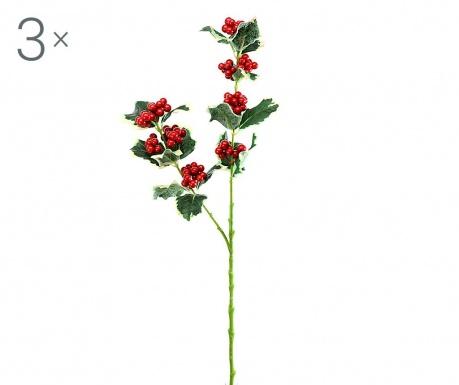 Zestaw 3 sztucznych roślin Holly Branch