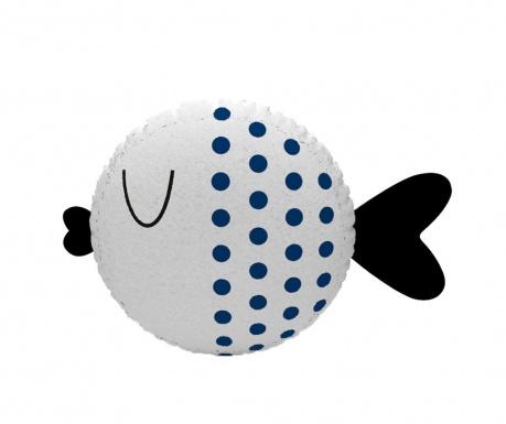 Fish Dotted White & Dark Blue Díszpárna 30 cm