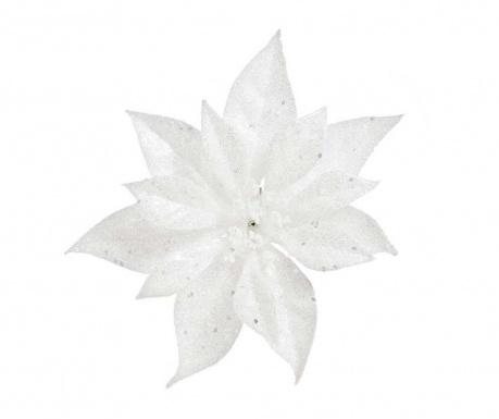 Decoratiune Poinsettia Glitter White