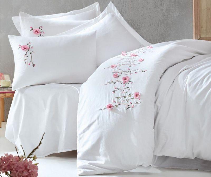 Σετ κλινοσκεπάσματα King Sateen Supreme Perla Embroidered White 200x220