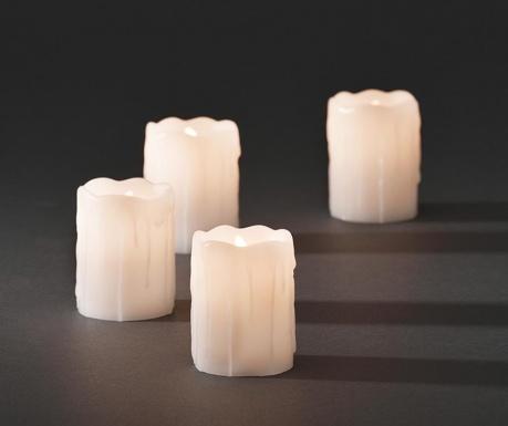 Σετ 4 κεριά με LED Melted White