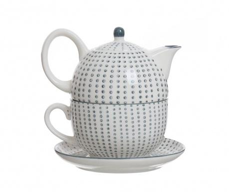 Sada čajník so šálkou a tanierikom Dots