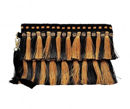 Дамска чанта тип плик Tassles Gold and Black