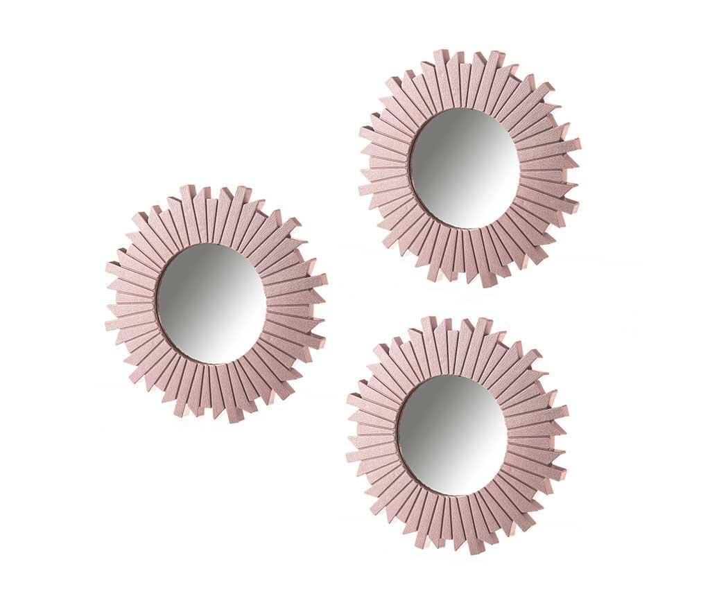 Sada 3 zrcadel Wood Pink
