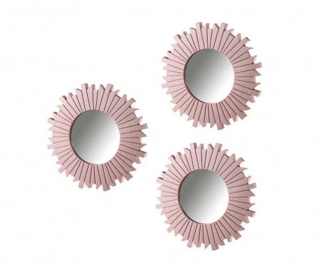 Set 3 ogledal Wood Pink