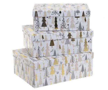 Zestaw 3 pudełek z pokrywką Lilia