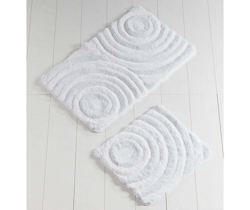 Set 2 kopalniških preprog Circles White Glitter