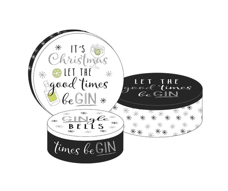 Set 3 kutije s poklopcem Good Time Be Gin