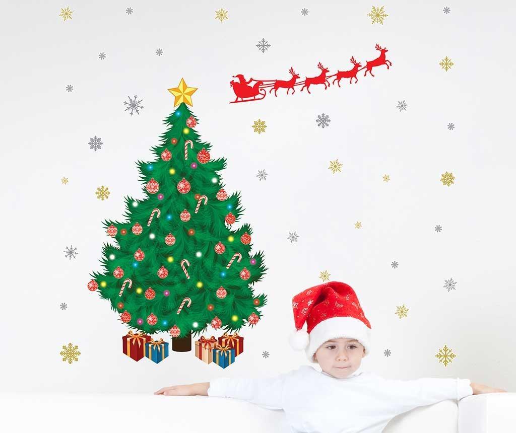 Samolepka Santa Sleigh Tree