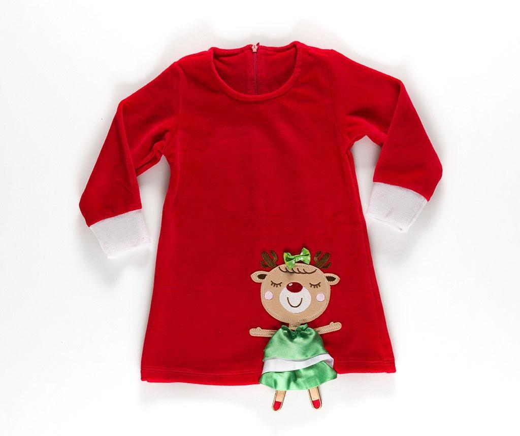 Šaty s dlouhým rukávem pro děti Cute Deer Velvet 8 r.