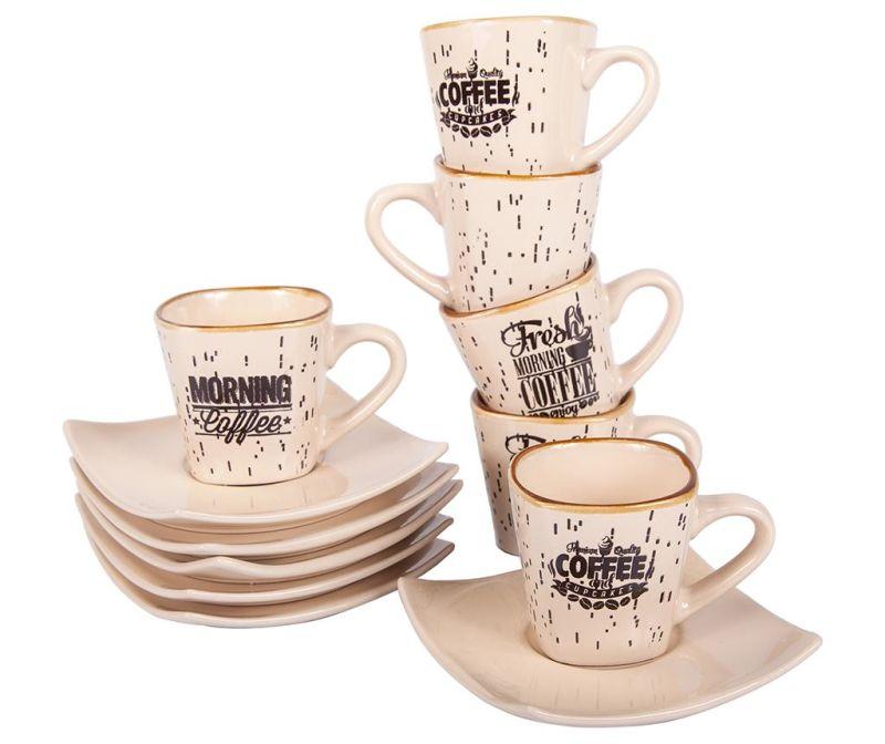 Set 6 cesti si 6 farfurioare Morning Coffee