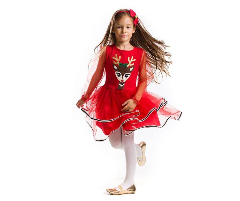 Otroška obleka z dolgimi rokavi Tulle Deer 5 let