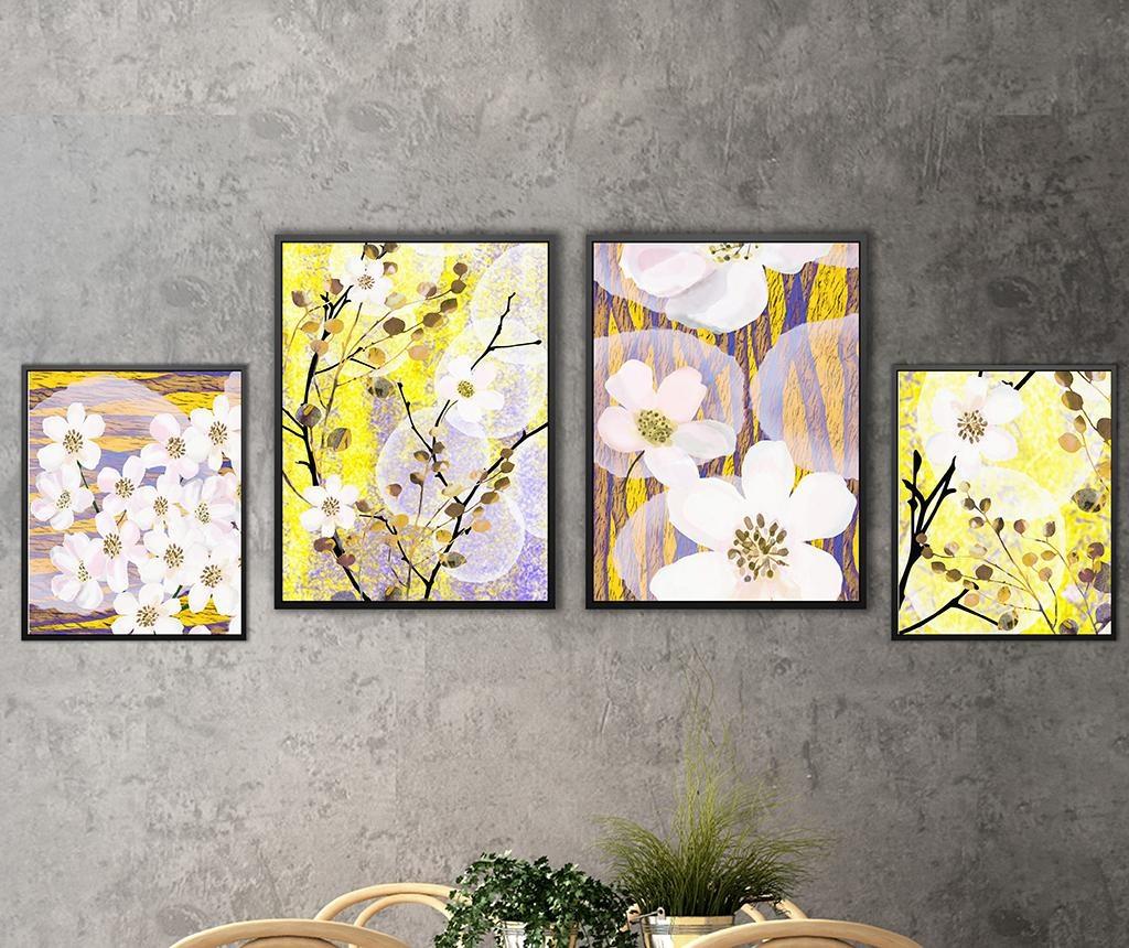Set 4 tablouri Cherry Flowers