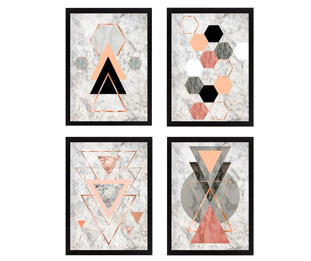 Set 4 slika Geometric 34x44 cm