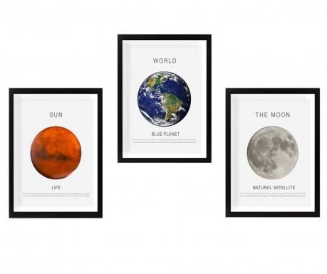 Sun Moon Earth 3 db Kép 34x44 cm