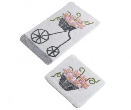 Σετ 2 χαλάκια μπάνιου Bike Flowers Pink