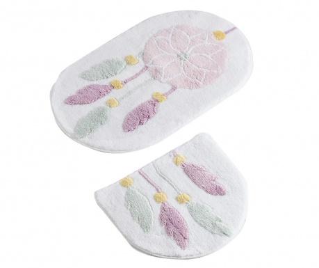 Σετ 2 χαλάκια μπάνιου Dreamcatcher White Pink