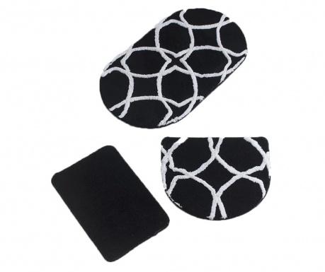 Geometric Oval Black 3 db Fürdőszobai szőnyeg