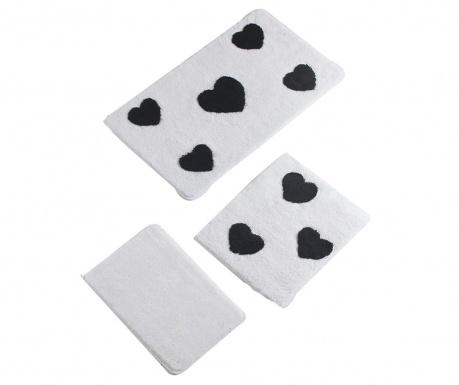 Black Hearts 3 db Fürdőszobai szőnyeg
