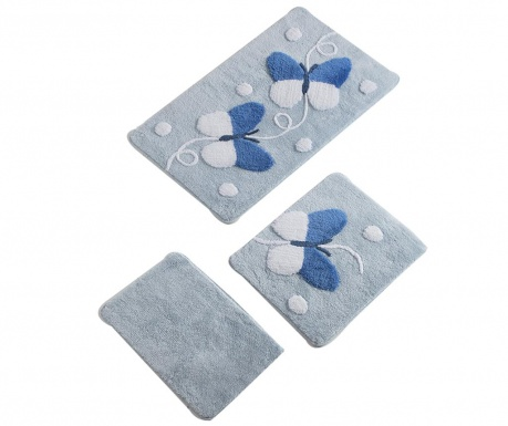 Σετ 3 χαλάκια μπάνιου Butterfly Blue