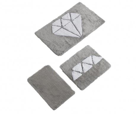Σετ 3 χαλάκια μπάνιου Diamond White Grey