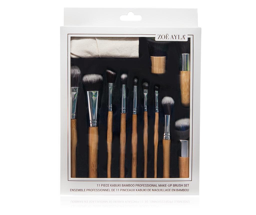 Set 11 pensule pentru machiaj si husa Bamboo Eco