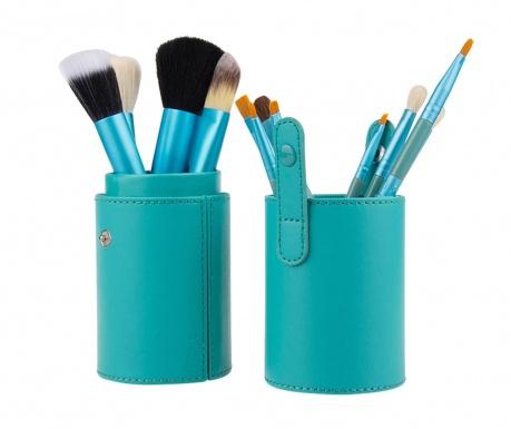 Σετ 12 πινέλα για μακιγιάζ και θήκη Makeup Lover Turquoise