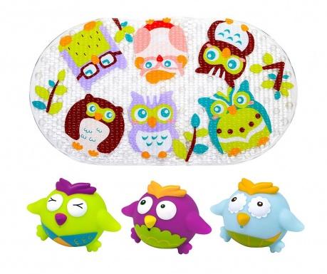 Zestaw dywanik i 3 zabawki do wanny Birdie