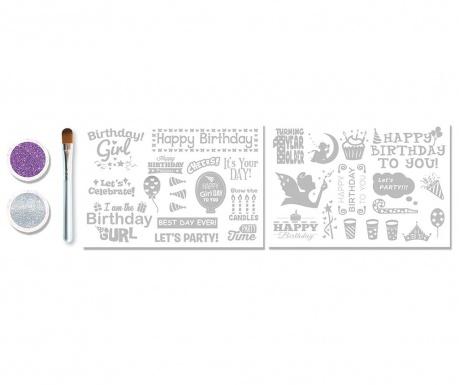 Zestaw do tatuażu z brokatem 5 elementów Birthday Girl
