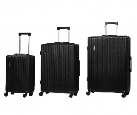 Sada 3 cestovních kufrů na kolečkách Mayfair Black
