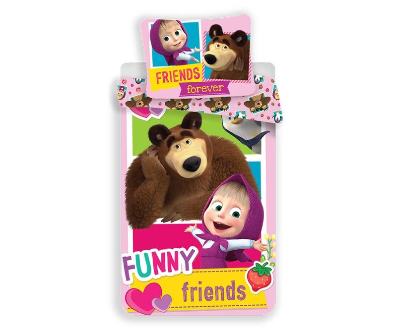 Ložní povlečení Single Ranforce Masha and the Bear Friends