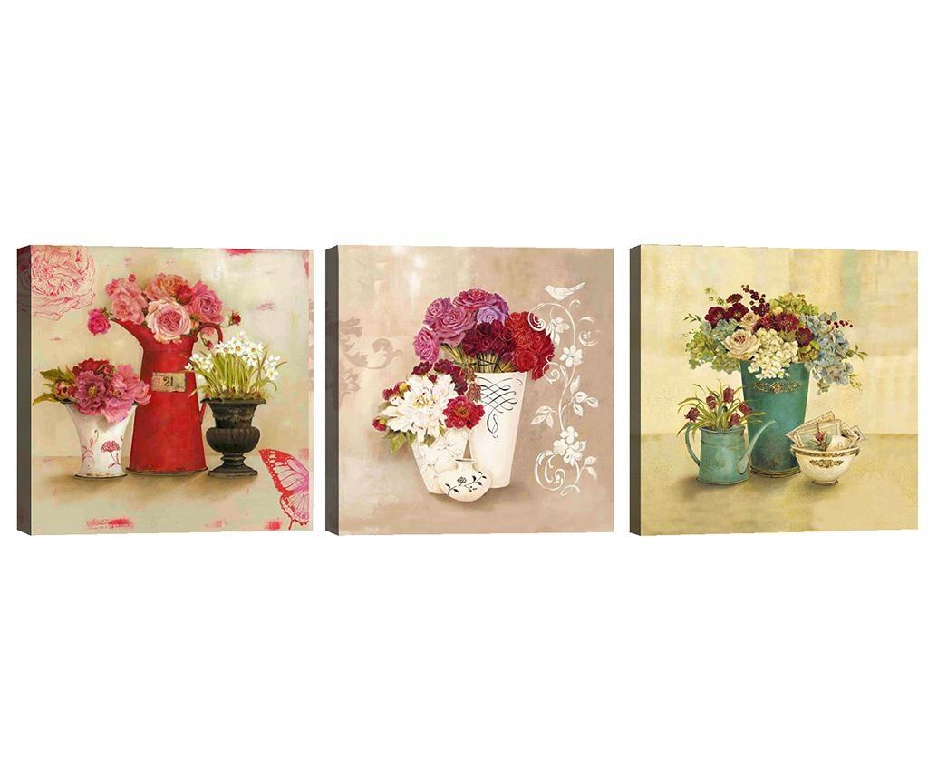 Sada 3 obrazů Flower Vases 30x30  cm