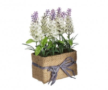 Изкуствено растение в саксия Lavander Flowers White