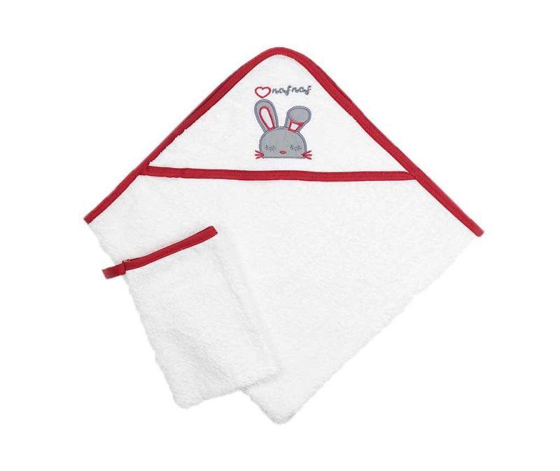 Set - brisača s kapuco in kopalna rokavica Rabbit