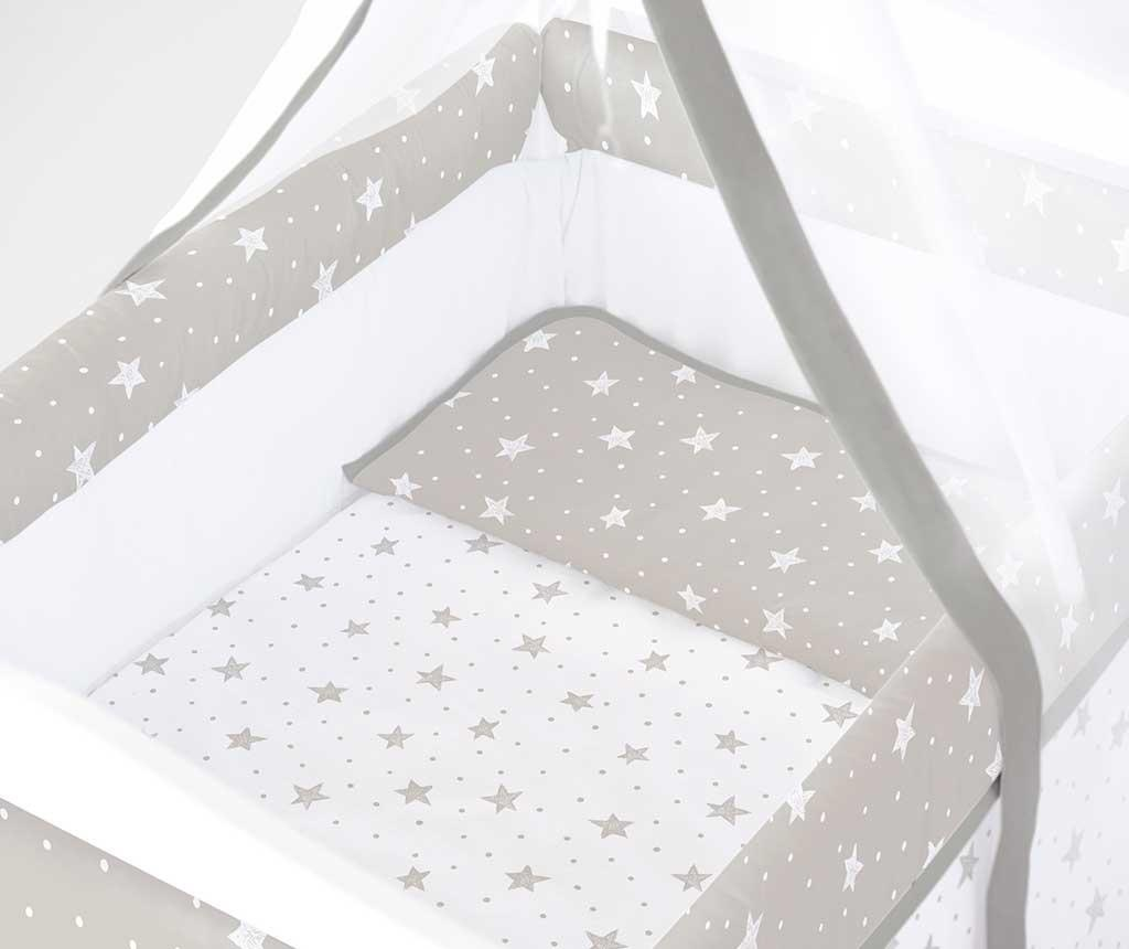 Set - otroška posteljica z baldahinom in dodatki Stars and Dots Square