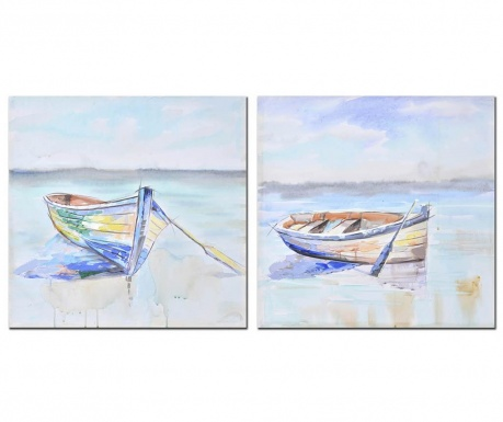 Set 2 tablouri Boat 60x60 cm
