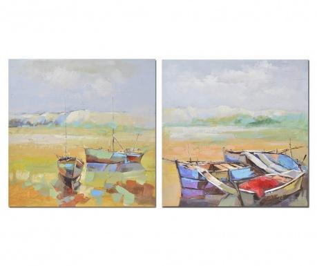 Set 2 tablouri Shore 80x80 cm